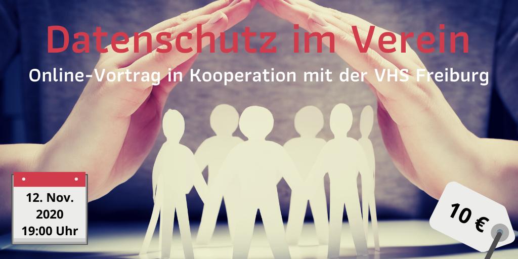 Online-Vortrag Datenschutz im Verein am 12.11.2020